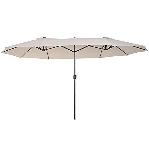 Outsunny Sonnenschirm Gartenschirm Marktschirm Doppelsonnenschirm Terrassenschirm mit Handkurbel Beige Oval...