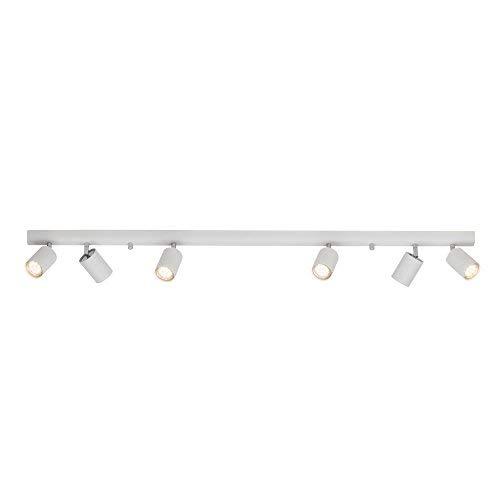 Lightbox Design Deckenleuchte 6 flammig - Spotbalken mit schwenkbaren Spots - Metall, Weiß