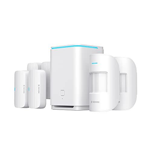 X-Sense Intelligentes Alarmanlage, 8 Teile Heimsicherheitssystem, Sofortige Benachrichtigungen, 2 Km Drahtlose...