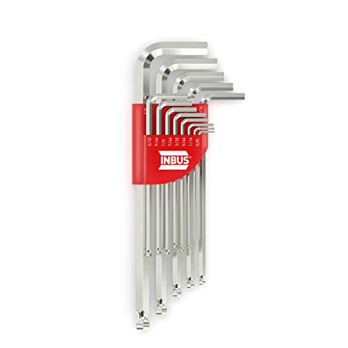 INBUS® 70426 Inbusschlüssel Set (Zoll) 13tlg, 0.05–3/8', mit Kugelkopf — Made in Germany
