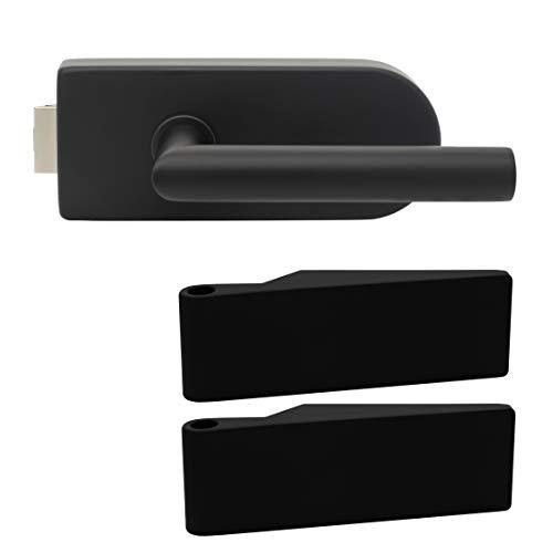 Premium Glastürbeschlag D3 UV | inkl. Studiobändern | Schwarz matt Elektrophoresebeschichtung | New Orleans