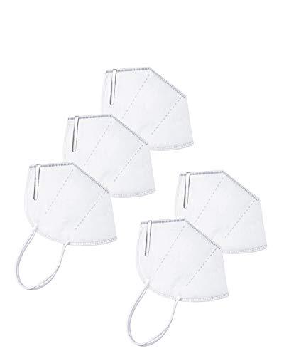 AFAC Maske atmungsaktive mehrschichtige Staubmaske mit weißem elastischem Ohrbügel 5 Stück