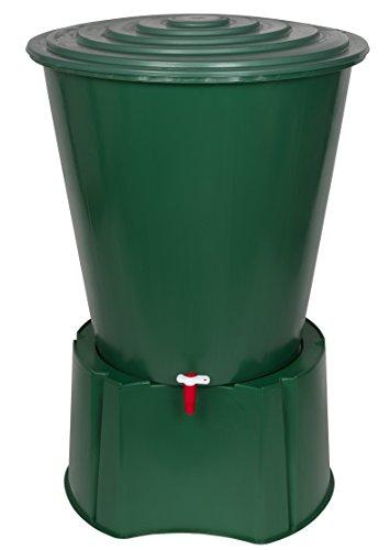 Kreher XL Regentonne 210 Liter aus Kunststoff in Grün. Mit sehr robustem Monoblock Stand, Wasserhahn und...