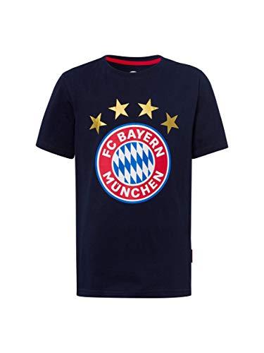 FC Bayern München T-Shirt Logo Navy Kids/Fanshirt mit großem FCB-Emblem / 152