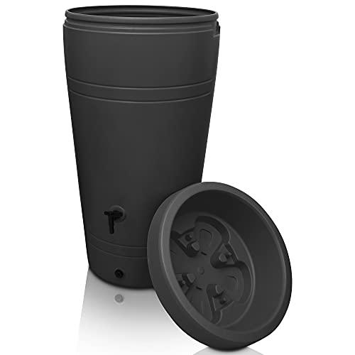 YourCasa Regentonne 230 Liter [Decore Design] Regenfass Frostsicher aus Kunststoff - Regenwassertonne mit...
