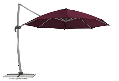 Schneider Sonnenschirm Rhodos Rondo, bordeaux, 350 cm rund, Gestell Aluminium, Bespannung Polyester, 22.4 kg