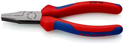 KNIPEX 20 02 160 Flachzange schwarz atramentiert mit Mehrkomponenten-Hüllen 160 mm
