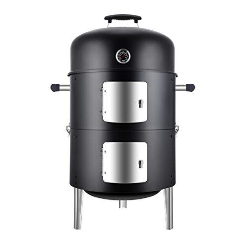 SUNLIFER Holzkohlegrill, räucherofen zum kalt räuchern und heiß, große Kapazität,zum Räuchern, Grillen...