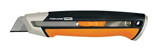Fiskars Cuttermesser, Länge 19,4 cm, Inklusive Klinge (25mm), Rostfreier Stahl/Kunststoff, Schwarz/Orange,...