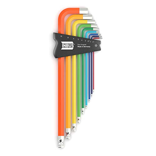 INBUS® 70273 Inbusschlüssel Set ColorGrip Bunt mit Kugelkopf 9tlg. 1,5-10mm XL I Made in Germany