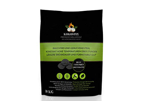 V2 FOODS Kokostix Grillkohle aus Kokos-Kohle - extra Lange Brenndauer - gleichbleibende Hitzeabgabe - 10kg im...