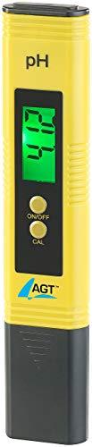 AGT pH Messgerät: Digitales pH-Wert-Testgerät mit ATC-Funktion & LCD-Display, pH 0-14 (pH Tester)
