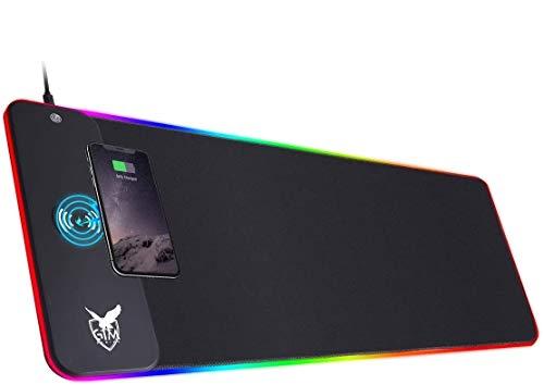 ICETEK RGB Gaming Mauspad XXL LED Mousepad Großes 800 x 300 x 4mm 10 Beleuchtungsmodi mit 10W Schnellladung...
