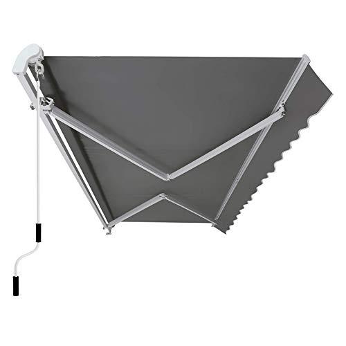SONGMICS Gelenkarmmarkise 350 cm, Markise mit Kurbel, Sonnenschutz, Anti-UV und wasserfest, grau, 350 x 250...