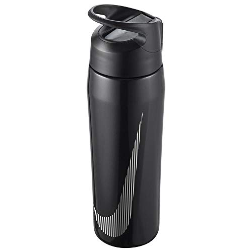 Nike Unisex– Erwachsene SS HYPERCHARGE Straw Bottle Trinkflasche, Metallic Black/Anthracite/White, 709ml
