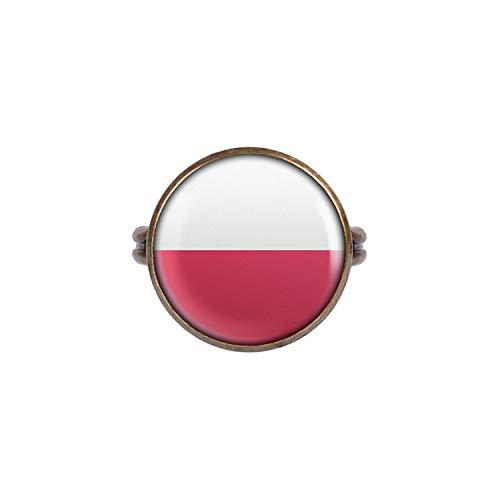 Mylery Ring mit Motiv Polen Polska Flagge Bronze 16mm