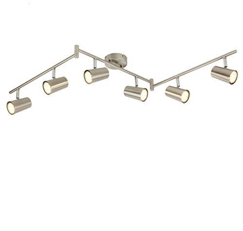 SEESEER LED Deckenleuchte Spotbalken Drehbar, 6-Flammig LED Strahler Deckenlampe Spot,3W GU10 230V IP20 Metall...