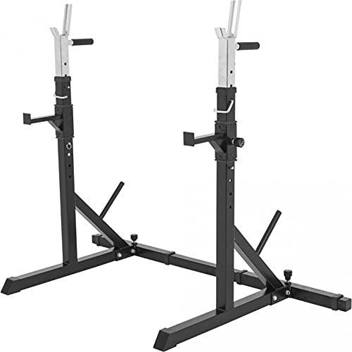 GORILLA SPORTS® Langhantelablage - 79 x 150-190 x 133 cm, Verstellbar, mit Dip-Griffen, bis 250 kg belastbar...