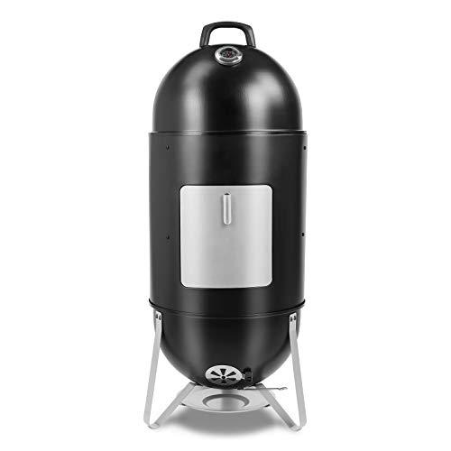 femor Räucherofen, 3in1 BBQ Holzkohlegrill mit Wasserschale, 2 Grillrost & Thermometer, Smoker mit...