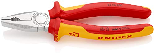 KNIPEX 03 06 200 Kombizange verchromt isoliert mit Mehrkomponenten-Hüllen, VDE-geprüft 200 mm