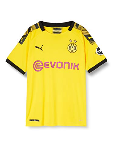 PUMA Jungen BVB Home Shirt Replica Jr Evonik with OPEL Logo Trikot, Cyber Yellow Black, 128