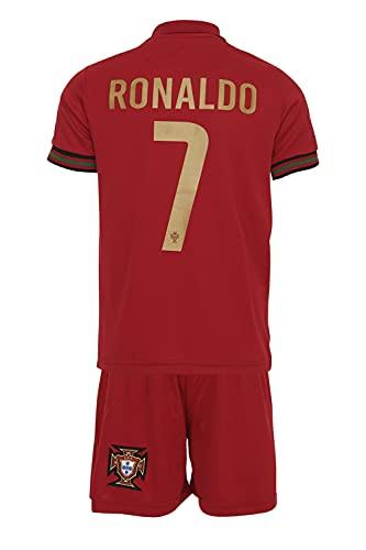 Portugal Ronaldo #7 2021 Heim Trikot und Shorts mit Socken und Wickel Armband Kinder und Jugend Größe (128)