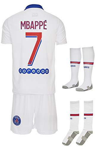 Paris #7 Mbappe-Neymar 2019-2020 Auswärts Kinder Fußball Trikot Hose und Socken Kindergrößen (152-9/10...