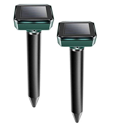 [2 Stück] Solar Maulwurfabwehr, Solar Ultrasonic Tiervertreiber Maulwurfschreck mit IP56 Wasserdicht,...