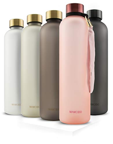MAMEIDO Trinkflasche 1l - auslaufsicher, Kohlensäure geeignet, BPA frei - Zeitmarkierung als Trinkerinnerung...
