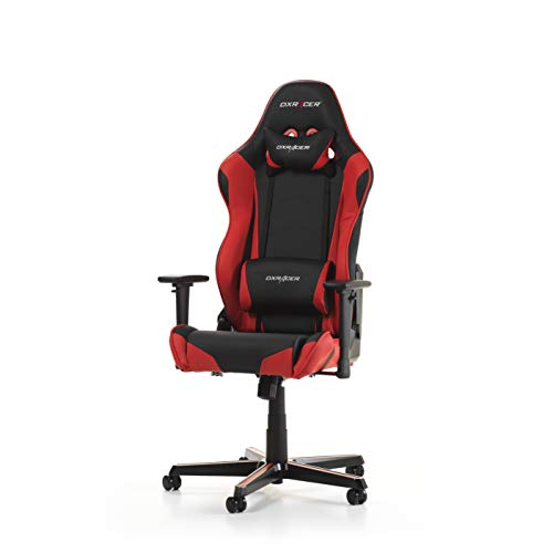 DXRacer Racing Series R0-NR Gaming Stuhl aus Kunstleder, Schwarz-Rot