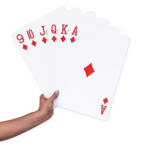BELLE VOUS Große Spielkarten - 52 Jumbo Spielkarten mit 2 Joker (37 x 26cm) - Kunststoff Riesenkarten für...