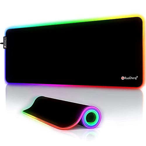 RuoCherg RGB Mauspad, 800 x 300 mm Gaming Mousepad mit 12 Beleuchtungs-Modi, Wasserdicht Anti Rutsch Mouse...