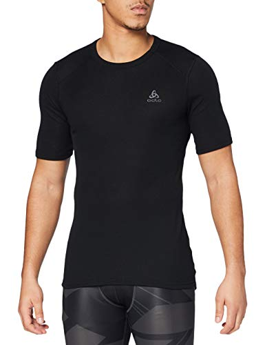 Odlo Herren Shirt Short Sleeve Crew Neck Warm Unterhemd, black, L