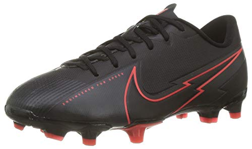 Nike Unisex Jr. Vapor 13 Academy Fg/Mg Fußballschuhe, Black Black Dark Smoke Grey Chile Red, 36.5 EU