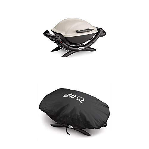 Weber 50060079 Gasgrill Q1000, Titan, Campinggrill, Grillen auf kleinen Balkonen + 7117 Premium Grillabdeckung...
