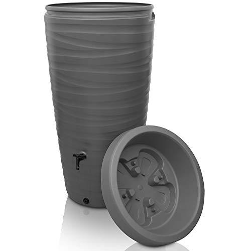 YourCasa Regentonne 240 Liter [Wave Design] Regenfass Frostsicher aus Kunststoff - Regenwassertonne mit...