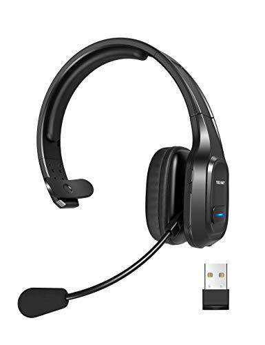 TECKNET Bluetooth Headset mit Mikrofon, PC Headset mit Rauschunterdrückung, Noise Cancelling Kopfhörer, Chat...