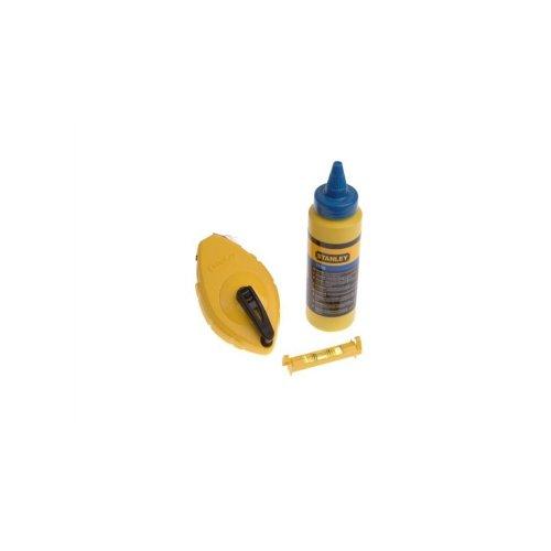 Stanley Schlagschnur-Set (mit blauer Kreide, ABS-Kunststoff, 30 m Schnurlänge, Edelstahl Endhaken) 0-47-443