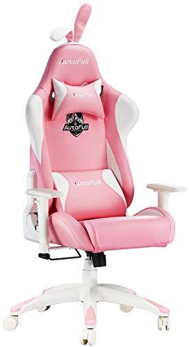 AutoFull Pink Gaming Stuhl Bürostuh Chefsessel PU-Leder Ergonomische Computer Stühle mit Süßen Hasenohren...