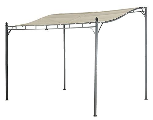 Jet-line Pavillion Lagos beige 3 x 2.5 m Pergola Anbau mit Dach UV Schutz Beschattung Sonnenschutz UV Garten...