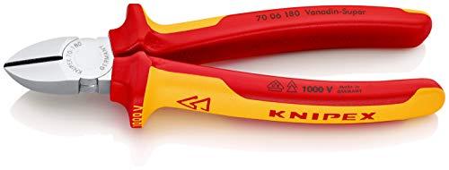 KNIPEX 70 06 180 Seitenschneider verchromt isoliert mit Mehrkomponenten-Hüllen, VDE-geprüft 180 mm