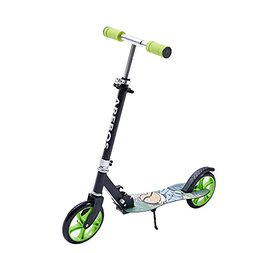 Arebos Tretroller Scooter | XXL Räder | Tragegurt & Seitenständer| rutschfeste Trittfläche |...