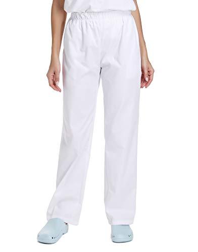WWOO Damen OP-Hose weiße Schlupfhose Uniformen Hose Bundhose aus Baumwolle mit Gummibund professionelle...