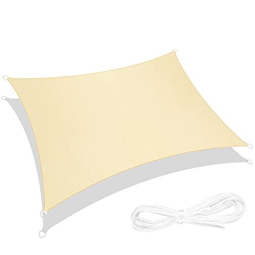 RATEL Sonnensegel Sand 3 × 4 m Rechteck, wasserdicht Windschutz mit 95% UV Schutz Sonnenschutz für Draußen,...