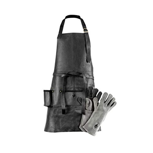 G-on Profi Grillschürze Leder schwarz Set mit Grillhandschuhen grau-schwarz I Kochschürze I Männer...