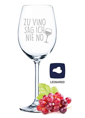 Leonardo Weinglas mit Gravur - Zu Vino sag ich nie no - Geschenk für Hobby-Sommelier & Weinliebhaber -...