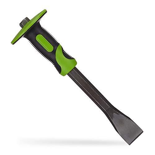 Relaxdays Flachmeißel mit Handschutz, präziser Putzmeißel, 35mm Fliesen Meißel, Stahl & Gummi, 29 cm lang,...