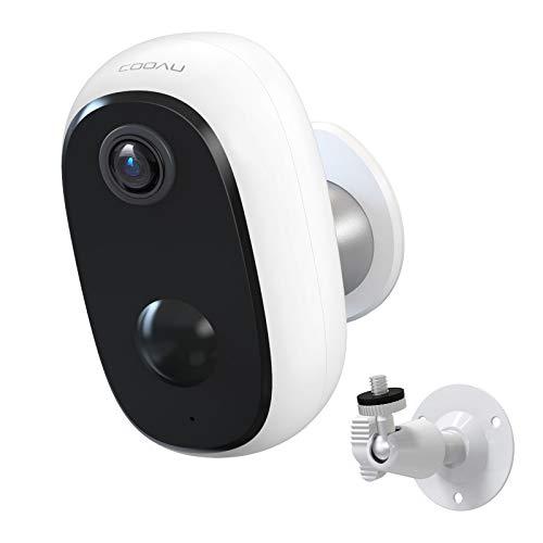 COOAU überwachungskamera WLAN, 10000mAh Akku Kabellos Wiederaufladbare IP Kamera mit PIR-Bewegungserkennung,...