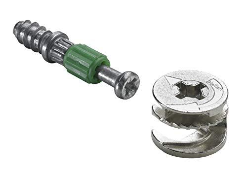 Hettich Verbindungsbeschlag (Möbelbeschlag) 15/20 mm Rastex – Bohr-Ø 12mm, Zinkdruckguss, verzinkt/blank -...