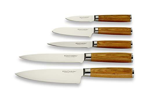 Echtwerk Damastmesser Set 5 teilig, Küchenmesser, Damaszener, Messer mit Holzgriff, Braun/Silber 36 x 23 x...